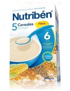 Nutribén papilla 5 cereales fibra 600gr